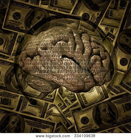 Binary brain in crystal ball. Dollars on background. 3D rendering stock photo