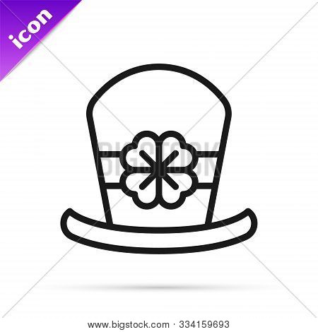 Black line Leprechaun hat and four leaf clover icon isolated on white background. Happy Saint Patricks day. Vector Illustration stock photo