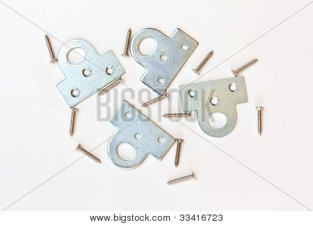 Screws On White Background. Used in the construction of common tasks. stock photo