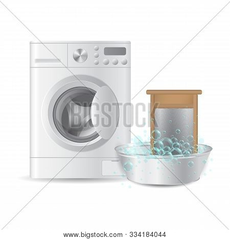 realistic automatic washing machine and ribbed hand washboard in metal basin with soap bubbles isolated on white background. Hausework concept. 3D illustration. stock photo