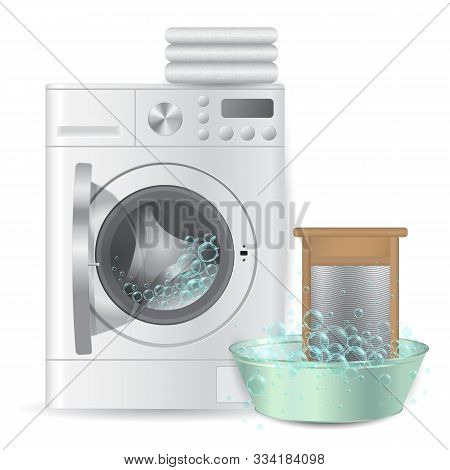 realistic automatic open washing machine with pile of white terry towels and ribbed hand washboard in metal basin isolated on white background. Hausework laundry concept. 3D illustration. stock photo