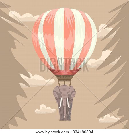 Elephant hang on hot air balloon. Abstract illustration for your greeting card or tattoo design. Vector illustration. stock photo