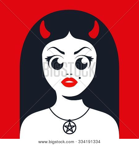 female devil with horns with satanic star decoration on the neck. Flat character vector illustration. stock photo