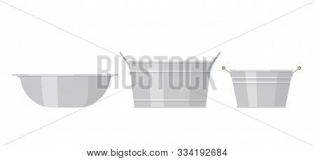 Basin. Vector. Metal washbowl. Steel bowl icons in flat design, isolated on white background. Cartoon color illustration. Set of aluminum containers. stock photo