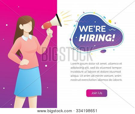 We are hiring concept with character. We are hiring concept banner, Now hiring banner vector illustration stock photo