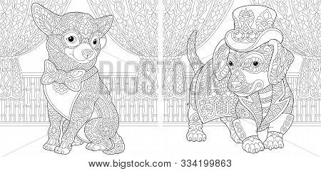 Coloring Page. Coloring Book. Colouring pictures set with chihuahua and dachshund dog in steampunk style. Line art sketch design with doodle and zentangle elements. stock photo