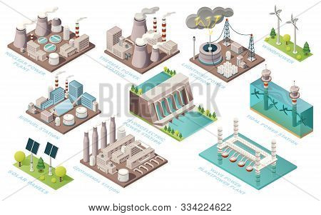 Alternative energy and power plants and green electric energy generation stations, vector isometric icons. Solar panels, bio fuel, thermal or geothermal, nuclear, tidal and water wave power stations stock photo