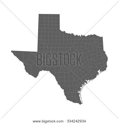 Vector illustration of grey Texas map. Vector map. stock photo