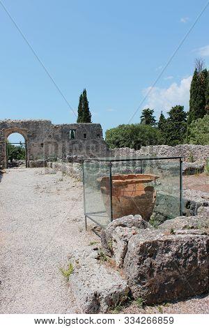 Archaeological area of Necromanteion of Acheron Preveza Greece stock photo