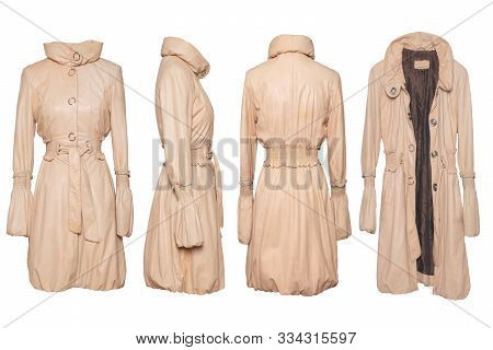Leather coat isolated. Collage set of a luxurious elegant bright female beige leather coat in four views isolated on a white background. Fashionable stylish new collection of woman clothes. stock photo
