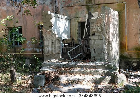 Ruined abandoned house in which people lived.Ruined abandoned house in which people lived stock photo