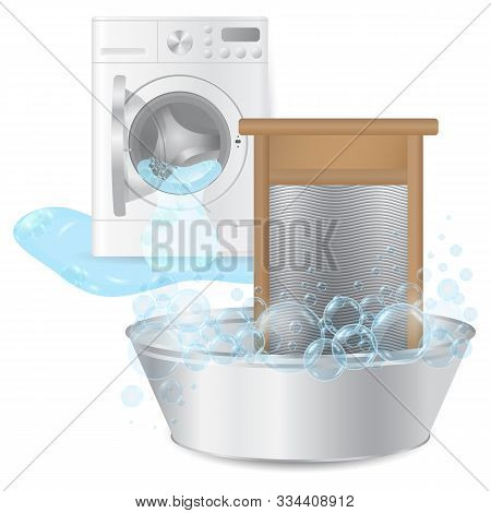 realistic ribbed hand washboard in metal basin with soap bubbles on background broken washing-machine with open door and leaking water isolated on white background. 3D illustration. stock photo