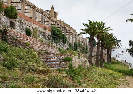 Ruins of Kasbah in Tetouan (Northern Morocco). In Morocco kasbah frequently refers to multiple buildings in a keep, a citadel, or several structures behind a defensive wall. stock photo