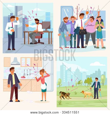 Set of bad luck and stressful situations. Male character experiences stress in everyday life. ramped on the subway, quarrel with his wife, conflict at work, dog attack. Flat Art Vector illustration stock photo