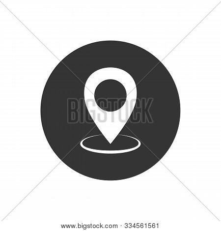 White maps pin on gray. Location map icon. Location pin. Pin icon vector stock photo