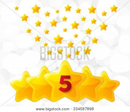 Five golden stars. Best rated, feedback rating, customer satisfaction. Best quality service. Five-pointed shiny star for ranking or rating. Great feedback background. Vector stock photo