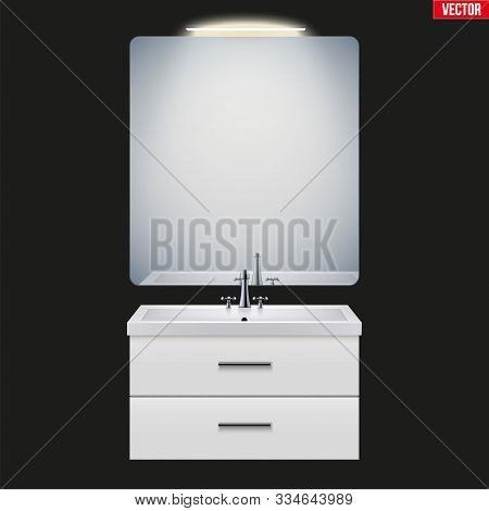 Washbasin cabinet with mirror and light. Model for bathroom Interior. White porcelain sink and wooden stand cabinet. Front view and wall mount. Vector Illustration isolated on background stock photo