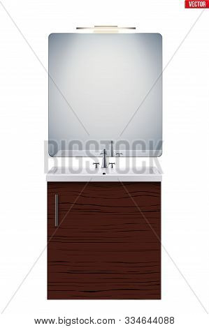 Washbasin cabinet with mirror and light. Model for bathroom Interior. White porcelain sink and wooden stand cabinet. Front view and wall mount. Vector Illustration isolated on white background stock photo