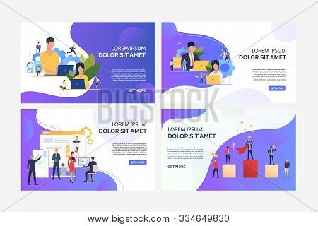 Business professionals working on computers set. Recruit agency team analyzing candidates. Flat vector illustrations. Business, career concept for banner, website design or landing web page stock photo