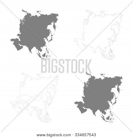 vector illustration with Political Maps of Asia stock photo