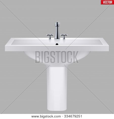 Classic ceramic rectangle washbasins with water tap. Porcelain washstand. Front view. Sample Ceramic sink Model with faucet For Bathroom and Restroom. Vector Illustration isolated on white background. stock photo