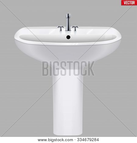 Classic ceramic washbasins with water tap. Porcelain washstand. Front view. Sample Ceramic sink Model with faucet For Bathroom and Restroom. Vector Illustration isolated on white background. stock photo