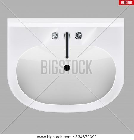 Classic ceramic washbasins with water tap. Porcelain washstand. Top view. Sample Ceramic sink Model with faucet For Bathroom and Restroom. Vector Illustration isolated on white background. stock photo