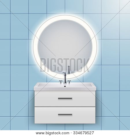 Washbasin cabinet with circle mirror and backlight. Domestic bathroom Interior. White porcelain sink and wooden stand cabinet. Front view and wall mount. Vector Illustration stock photo