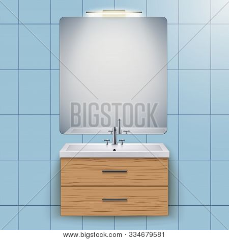 Washbasin cabinet with mirror and light. Domestic bathroom Interior. White porcelain sink and wooden stand cabinet. Front view and wall mount. Vector Illustration stock photo