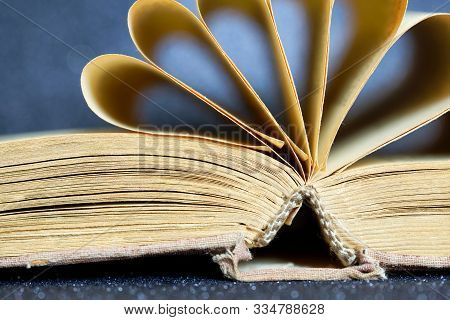 Opened old book with fairy tales or myths on a dark background. Library archive. History and memoirs. Educational and fiction. Close-up. stock photo