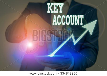 Conceptual hand writing showing Key Account. Business photo text individual approach of sales showing to their customers. stock photo