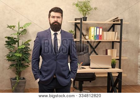 Human resources. Hiring concept. Recruitment department. Job interview. Welcome team member. Recruiter professional occupation. HR manager. Man bearded manager recruiter in office. Recruiter career. stock photo