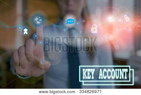 Writing note showing Key Account. Business photo showcasing individual approach of sales showing to their customers. stock photo