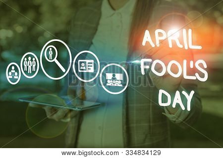 Conceptual hand writing showing April Fool S Day. Business photo showcasing Practical jokes humor pranks Celebration funny foolish. stock photo