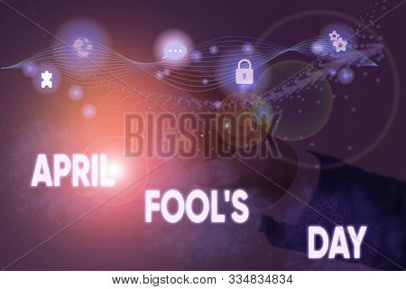 Text sign showing April Fool S Day. Conceptual photo Practical jokes humor pranks Celebration funny foolish. stock photo