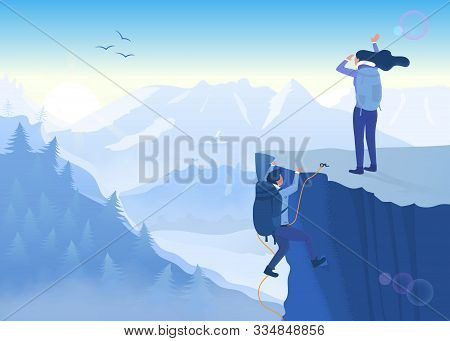 Concept of determination, perseverance and never giving up in the face of a challenge with two mountaineers climbing a precipitous cliff to reach the summit of a mountain - achievement and success stock photo