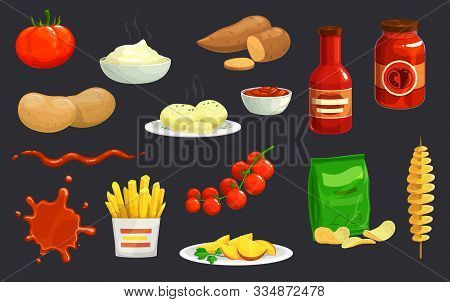 Potato And Tomato Vegetable Dishes Vector Design Of Food. Bowl And Jars Of Ketchup, French Fries, Ch