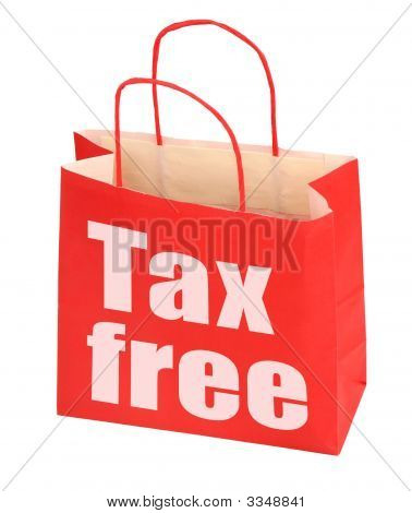red paper bag with tax free sign on white background photo does not infringe any copyright stock photo