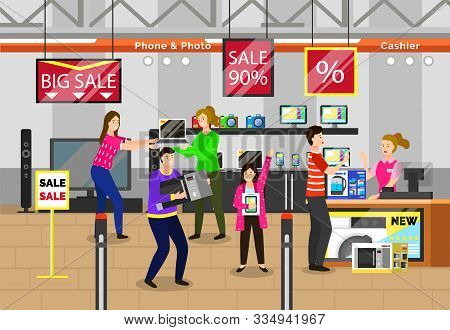 Black friday shopping character at store, electronics with computers and gadgets. People buying devices and appliances at shop. Personage standing by cashier paying for chosen item from market vector stock photo