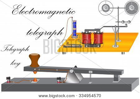 The principle of operation of an electromechanical telegraph in which there is an electromagnet, a telegraph key, a battery which is a current source. stock photo