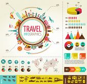 Travel information illustrations with information symbols and components