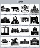 Landmarks of Rome. Set of monochrome symbols. Editable vector delineation.