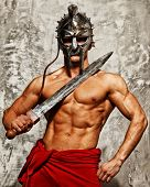 Gladiator with solid body with sword and cap