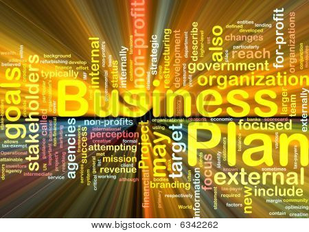 Word cloud concept illustration of business plan glowing light effect stock photo