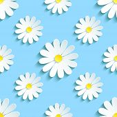 Spring Blue Background Seamless Pattern With Chamomile