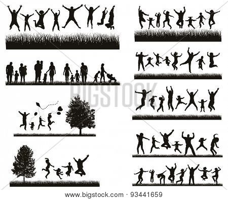 Happy Family . Conceptual background. Set of Men\'s, Women\'s and Children Silhouettes. \ Active People