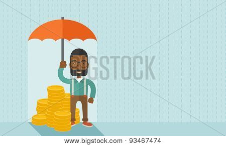 An african-american businessman standing holding umbrella protecting his money to investments, money