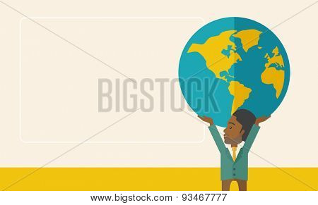 A black businessman carrying big globe it is a symbol that he is number one in the world in business society. A Contemporary style with pastel palette, soft beige tinted background. Vector flat design stock photo