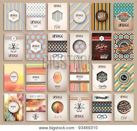 Vintage Styles brochure templates set with Labels. Vintage background to use as frames for advertisi