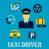 Taxi driver calling with administration symbols